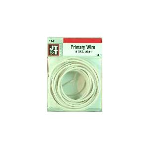 JT&T White Primary Copper Wire | 18 Gauge, 30 Feet