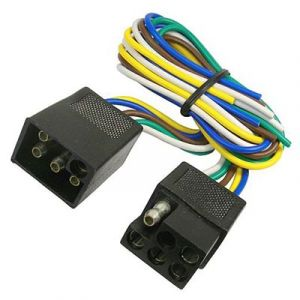 JT&T 5-Wire Squared Trailer Wire   1 Foot Male   1 Foot Female