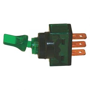 JT&T Duckbill Toggle Switch | Green Illuminated | 20 Amp