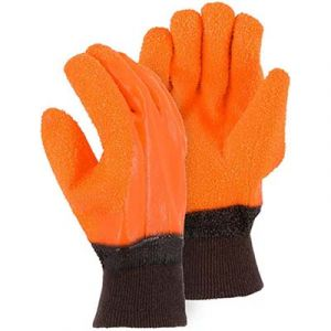 Majestic: Winter Lined PVC GLOVES - ORANGE (Large)
