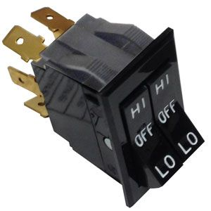 Pollak HI-LO Dual Actuator Rocker Switch | 12 Volt, 20 Amp