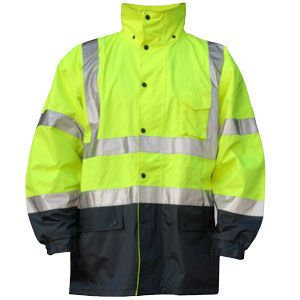 Majestic 75-1305 Series : M-Safe Yellow High Visibility Rain Jacket, with Nylon Liner.