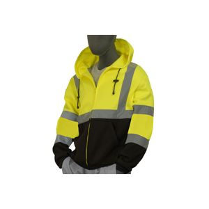 Majestic: High Vis. Yellow & Black Sweater w/ Zipper & Hood (Large)