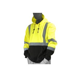 Majestic: High Visibility Yellow & Black Sweater with Hood (Large)