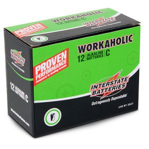 "Interstate Batteries: 12 ∼ Size 'C' ""Workaholic"" Alkaline Batteries"