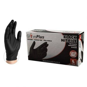 AMMEX: GlovePlus Black Nitrile Industrial Latex Free Disposable Gloves | Large