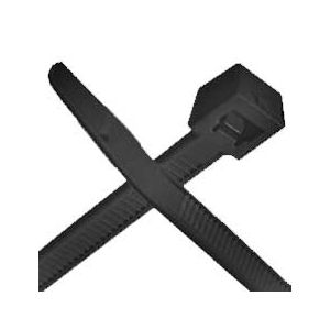UV Black Nylon Cable Ties | 7-Inch, 50 Pound Strength | 100 Pack