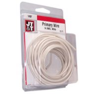 JT&T White Primary Copper Wire | 14 Gauge, 15 Feet