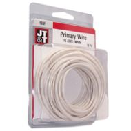 JT&T White Primary Copper Wire | 16 Gauge, 20 Feet